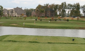 A lazy stand of timber gave way to this new second hole and the McMansions in the background.