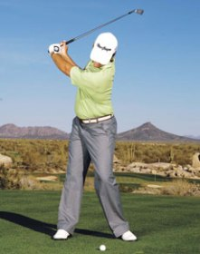 This swing sequence photo of Aaron Baddeley from 2007 vaguely represents what I had been doing.