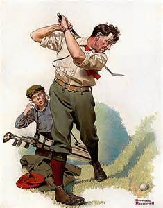 This Norman Rockwell golfer has better swing fundamentals than I was blessed with.