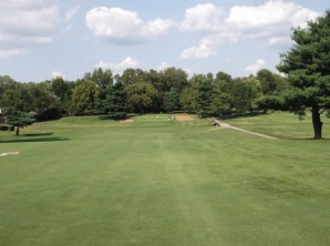 The 14th hole may be the best par 4 on the course.  The hole is long, your tee shot is blind, your approach must carry Vaughn's Branch, and the green slopes severely back to front.