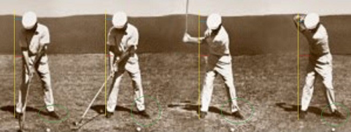 Unfortunately, when my swing mechanics break down, I look nothing like Mr. Hogan during my takeaway.  Whereas Hogan moved his hips slightly away from the yellow line, mine formerly moved all the way across it, but we're working to change that.