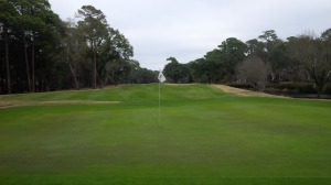 A look back down the 9th fairway from the green.