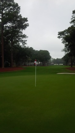 I look back down the first fairway of Harbour Town from the green.  I was finally, really there.