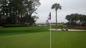 You come around the corner of the dog leg 16th hole, and there is Calibogue Sound, with all its wind and splendor.