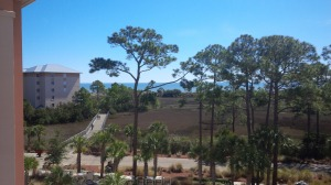 The view from our 5th floor balcony at the Marriott Surf Watch on Hilton Head Island.