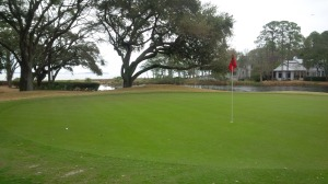 Port Royal Sound awaits just beyond the tree line behind the par 3 6th green and the adjacent 7th tee.