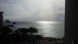 Our view of the Ocean with Lanai in the background from our room's porch.