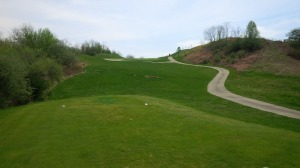 The ProShot GPS on our cart alerted us of when the coast was clear to hit our blind tee shots on the uphill par 5 14th hole.