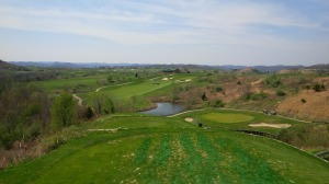 From the tee, the 17th green (to the right of the lake in the picture above) sits adjacent to one of only two bodies of water on the entire course at least 50 feet below the tee.