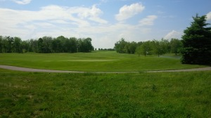 From behind the 8th green, one can view the length of the now 3rd fairway in the distance.