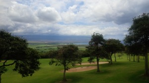 A look down the mountain towards Maalaea Bay from the 1st green at Kahili Golf Course.