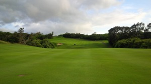 """The double fairway, double dogleg 15th hole proved anything but a """"scoring"""" hole."""