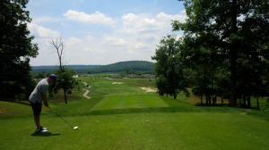 The 14th tee provides perhaps the best view of the Knobs surrounding Heritage Hill.
