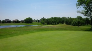 The 10th hole is a devil of a way to start the back nine, with water guarding the entire left side.