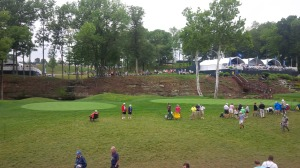 The waterfall next to the 14th tee and behind the 13th green were popular spots to get an up close and personal view of the pros.