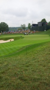 The 18th green at Valhalla is as dramatic as the tournament that will conclude there on Sunday.