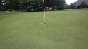 I was able to kick this short putt in for one of two birdies on the day, which really helped my quest.