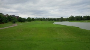The tee shot on the long par 4 13th hole is one of the few where there is trouble both left (OB) and right (lake).