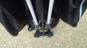 God Bless the engineers that designed and built the kick-stand leg mechanism on this bag.  It's proven reliable every time without exception.
