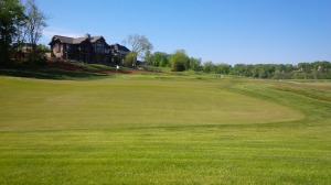 The par three 3rd green complex was large, undulating, and quick as greased lightning.