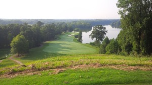 With the beautiful view of the Alabama River and downtown Montgomery in the distance, it almost distracts you from the dangers awaiting 200 feet below the 1st tee box: don't go right, don't go left.