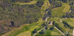 The blue line indicates where the ideal tee shot should have traveled. On a stack of King James Bibles, the yellow line represents where my first
