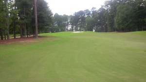 Elevation change is one of the many defenders of par at the Links Course, such as blind approach on the 5th hole.