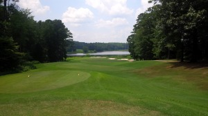 Knowing one must hit a target, and length has no reward, the short par 4 8th hole is a nasty challenge the first time playing it.