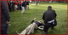 Hit by golf shot