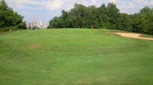 This was the highlight of the day. Two birdie putts on a green with a view of downtown Cincinnati.