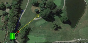 Again, the blue line indicates where my shot should have gone, and the yellow line indicates where my ball actually flew, narrowly avoiding several trees and my friend's head on the journey.
