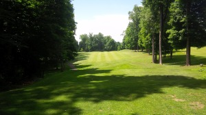 "This picture from the 1st tee captures the ""target golf"" aspects of several of the holes containing playing corridors."