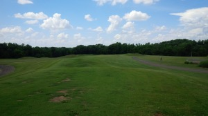 After two holes in the woods, the course opens itself up to the full brunt of cross breezes for several holes.