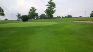 The nearly round, perfectly conditioned green of the par 4 12th hole is a typical Lincoln Homestead green.