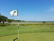 The incredible view of the Intracoastal Waterway from the 16th Green at Old South Golf Links