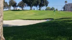 The tees may be Astroturf, but the well-maintained bunkers were full of real sand.
