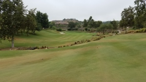 The view of the split fairway and the green on the first hole at Maderas GC.