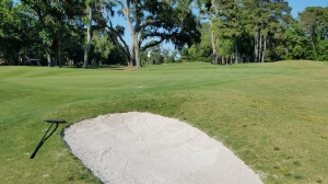 I could scarcely believe I hit a ball into a short-side bunker on the 15th hole that was no more than 70 square feet in area.