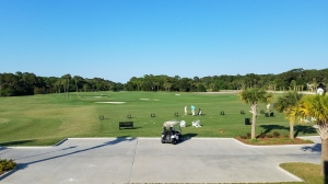 This photo captures just a portion of the massive Heron Point practice facility, with a green to the left and range on the right.